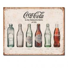 Coca Cola bottle through the ages tin sign