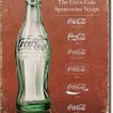 Coca Cola Script through the ages tin sign
