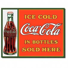 Coke - Sold here in bottles tin sign